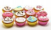 picture of eat me  - Different color cakes on a white background  - JPG