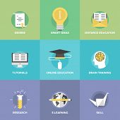 image of education  - Flat icons set of online education brain training games internet tutorials smart ideas and thinking electronic learning process studying new skills - JPG