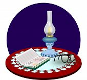 stock photo of kerosene lamp  - A round table with an old fashioned kerosene lamp - JPG