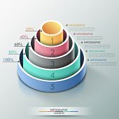 stock photo of cylinder pyramid  - Modern infographics options banner with 3d pyramid for 5 options made of colorful cylinders - JPG