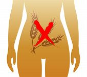 foto of diarrhea  - symbolic medical illustration of food intolerance to gluten called celiac disease - JPG