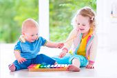 image of brother sister  - Two little children  - JPG