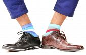 picture of shoes colorful  - Man leg in suit and colorful socks - JPG