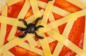 image of cobweb  - Closeup take of a tomato and cheese cobweb a Halloween pizza - JPG