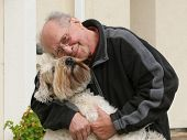 Happy Senior Man And His Dog poster