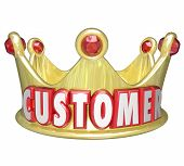 foto of courtesy  - Customer word in red 3d letters on a gold crown to illustrate royal treatment and VIP service for customers - JPG