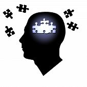 image of question-mark  - Puzzle pieces inside and outside of a man - JPG