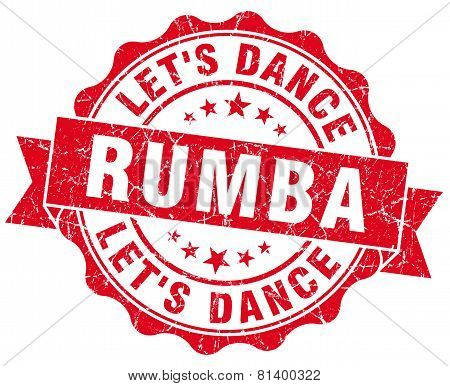 Rumba Red Grunge Seal Isolated On White