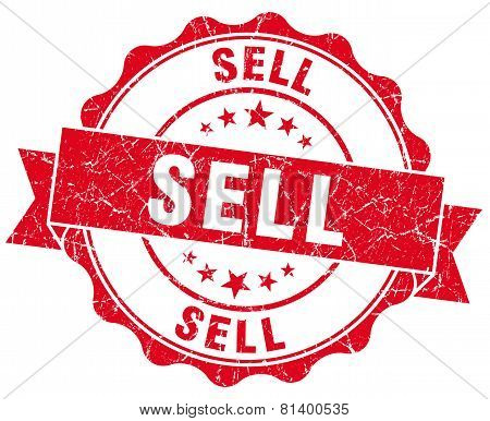 Sell Red Grunge Seal Isolated On White