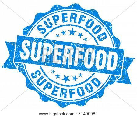 Superfood Blue Grunge Seal Isolated On White