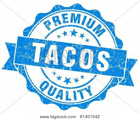 Tacos Blue Grunge Seal Isolated On White