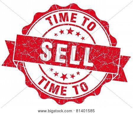 Time To Sell Red Grunge Seal Isolated On White