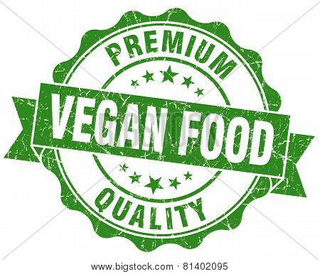 Vegan Food Green Grunge Seal Isolated On White