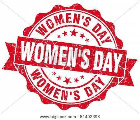 Women's Day Red Grunge Seal Isolated On White