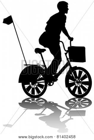 Sport man whit bike on white background