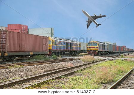Freight Trains In Dock With Airplane For Logistics Background