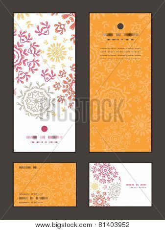 Vector folk floral circles abstract vertical frame pattern invitation greeting, RSVP and thank you c