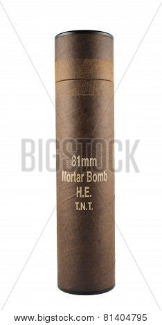Mortar bomb tube container isolated