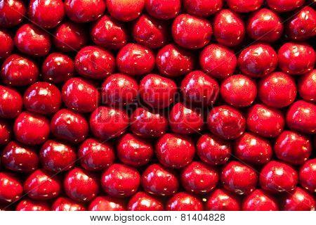Fresh Cherries Are Stapled In Pattern