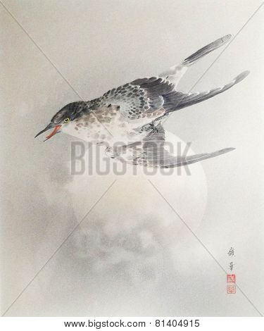 Vintage Japanese Print of Bird and Moon