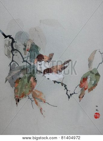 Vintage Japanese Print of Birds on Branch