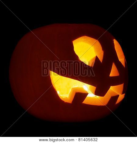 Glowing Jack-o'-lantern pumpkin isolated