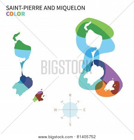 Abstract vector color map of Saint-Pierre and Miquelon with transparent paint effect.
