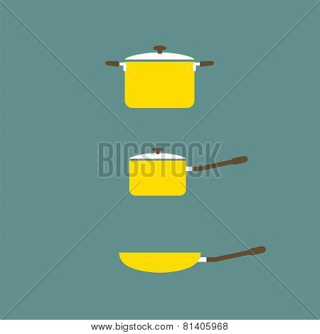 Set Of Cooking Pot And Pan Flat Design