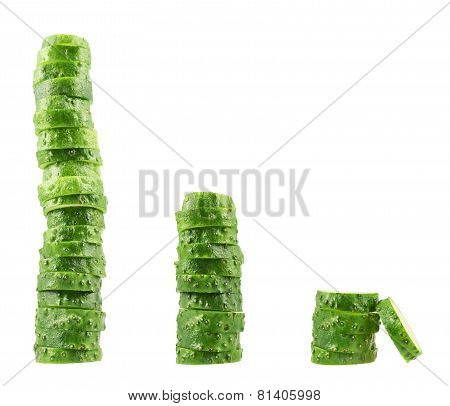 Stack of sliced fresh cucumber pieces