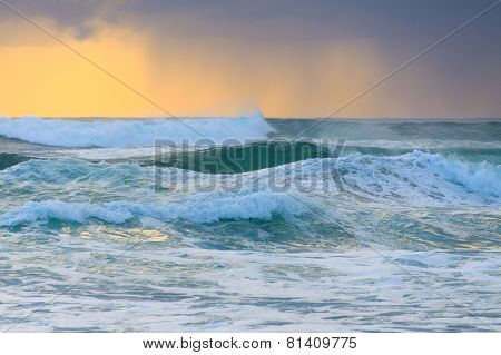 Rough Water Of Pacific Ocean