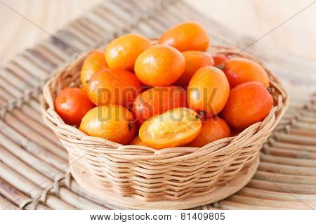 Fruit Jocote (red, Purple Mombin, Siriguela, Hog Plum, Sineguela, Ciruela Huesito) In Wicker Basket