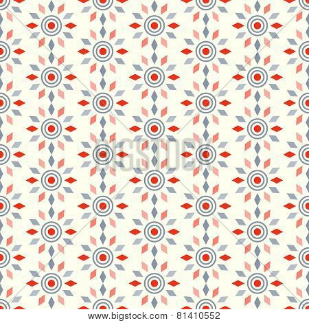 Red Abstract Circle And Rhomboid Pattern On Pastel Background