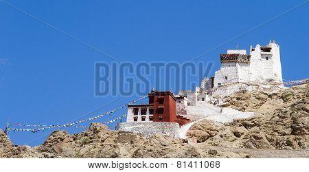 Namgyal Tsemo Monastery Panorama At Sunny Day