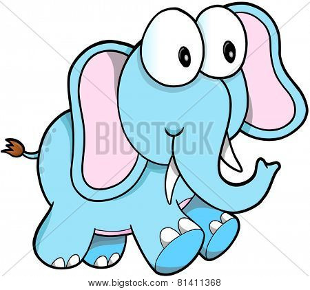 Cute Safari Elephant Vector Illustration Art