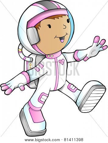Cute Girl Astronaut Vector Illustration Art