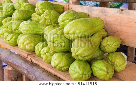 Bitter Gourd Or Chayote On Wood In Farms Of Agriculturist