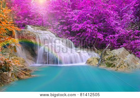 Wonderful Waterfall With Rainbows In Deep Forest At National Park, Thailand