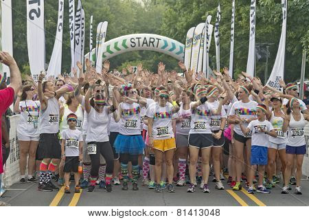 Energized Color Run Racers Getting Ready To Start