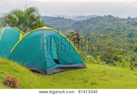 Camping Tent In Campground At National Park.