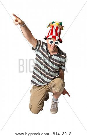 Brazilian man on knees ready for party wearing costumes on white background