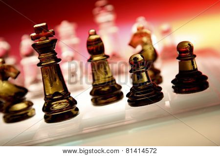 Game of glass chess pieces