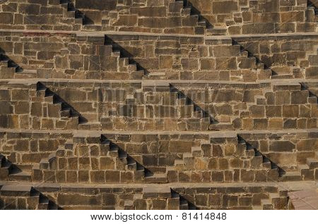 Steps At Chand Baori Stepwell In Rajasthan, India.