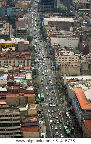 Mexico City Street Aerial View Df