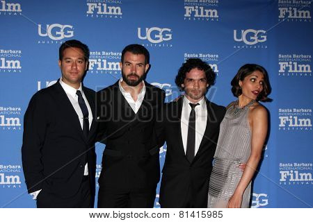 SANTA BARBARA - JAN 27:  Richard Raymond, Tom Cullen, Reece Ritchie, Freida Pinto at the SBIFF - US Premiere of