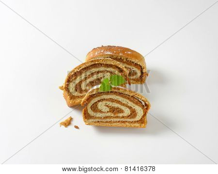 slices of crumbled nut roll