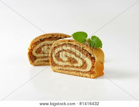 two slices of nut strudel