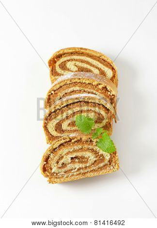 four slices of nut roll with mint