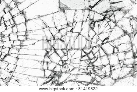 Full Screen Broken Glass, White Background