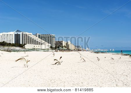 CANCUN - JANUARY18: Tourists enjoy the sunny weather and relaxing on the Playa Delfines on 18 January 2015 in Cancun, Mexico. This is one of the best beaches in the Mexico.