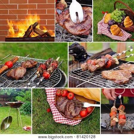 collage picnic on green grass and beef steak grilled on a barbecue outdoors